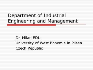 Department  of  Industrial Engineering and Management