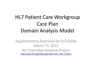 HL7 Patient Care Workgroup Care Plan  Domain Analysis Model