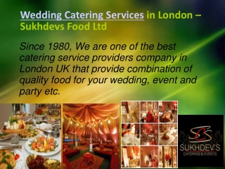 Authentic Wedding Catering Services in London