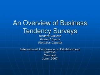 An Overview of Business Tendency Surveys