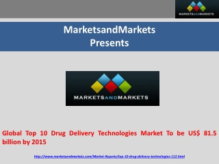 Global Top 10 Drug Delivery Technologies Market To be US$ 81