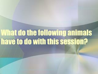 What do the following animals have to do with this session?