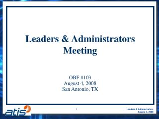Leaders & Administrators Meeting