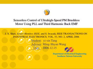 Sensorless Control of Ultrahigh-Speed PM Brushless Motor Using PLL and Third Harmonic Back EMF