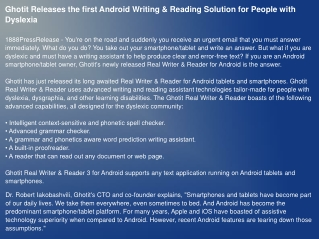 Ghotit Releases the first Android Writing