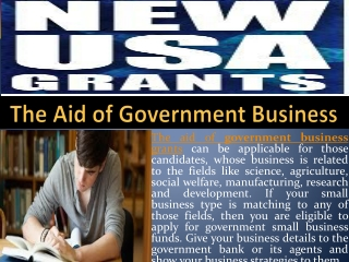The Aid of Government Business Grants
