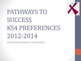 PATHWAYS TO SUCCESS KS4 PREFERENCES 2012-2014