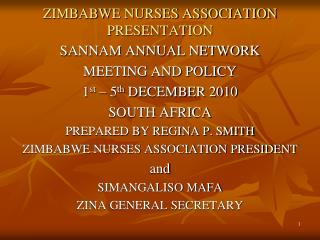 ZIMBABWE NURSES ASSOCIATION PRESENTATION