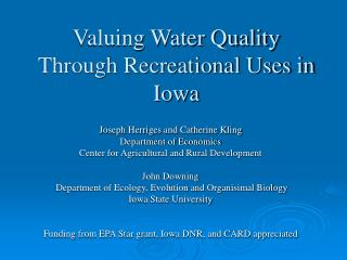 Valuing Water Quality Through Recreational Uses in Iowa