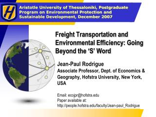 Freight Transportation and Environmental Efficiency: Going Beyond the 'S' Word