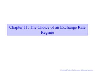 Chapter 11: The Choice of an Exchange Rate Regime