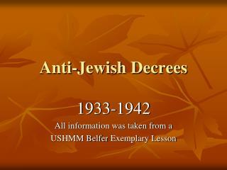 Anti-Jewish Decrees