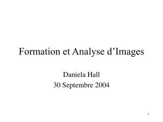 Formation et Analyse d'Images