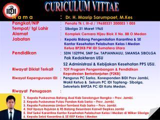 N a m a  :   Dr. H.  Masrip Sarumpaet ,  M.Kes Pangkat /NIP :    Penata Tk  I, III-d / 19650331 200003 1 005