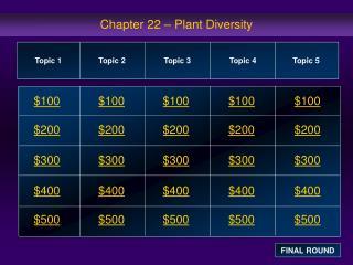 Chapter 22 – Plant Diversity