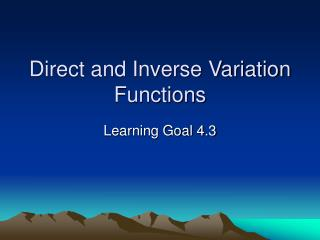 Direct and Inverse Variation Functions