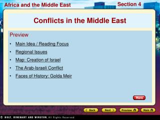Preview Main Idea / Reading Focus Regional Issues Map: Creation of Israel The Arab-Israeli Conflict Faces of History: Go