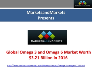 Global Omega 3 and Omega 6 Market Worth $3.21 Billion in 201