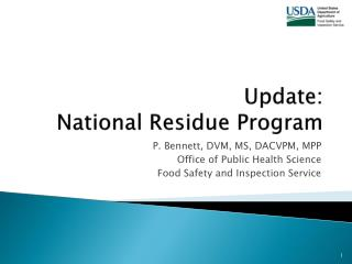 Update:  National Residue Program