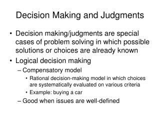 Decision Making and Judgments