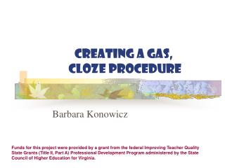Creating a Gas,   Cloze Procedure