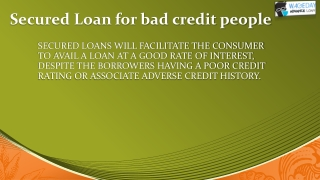 Secured Loan a service to Bad Credit