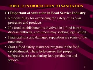 TOPIC 1: INTRODUCTION TO SANITATION