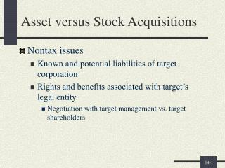 Asset versus Stock Acquisitions