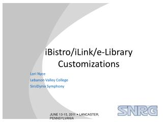 iBistro/iLink/e-Library Customizations
