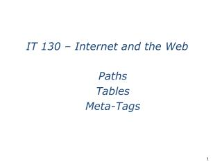 Paths Tables Meta-Tags