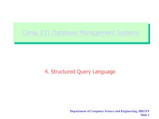 Comp 231 Database Management Systems