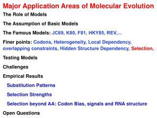 Major Application Areas of Molecular Evolution