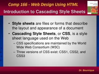 Introduction to  Cascading  Style Sheets