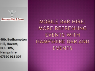 Mobile Bar Hire Services in Sussex