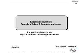 Expandable launchers Example of Ariane 5, European workhorse