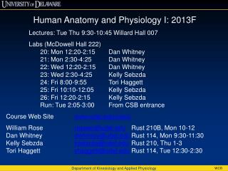 Human Anatomy and Physiology I: 2013F Lectures: Tue Thu 9:30-10:45 Willard Hall 007 Labs (McDowell Hall 222) 20: Mon 12: