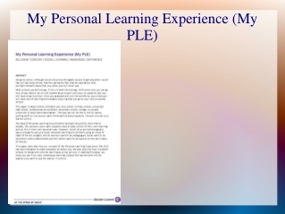 My Personal Learning Experience (My PLE)
