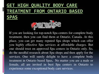 Get high quality body care treatment from ontario