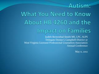 Autism:  What You Need to Know About HB 4260 and the Impact on Families