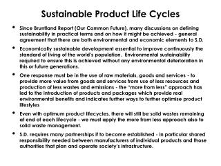 Sustainable Product Life Cycles