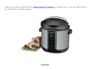 Best brands of pressure cookers