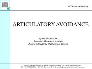 ARTICULATORY AVOIDANCE