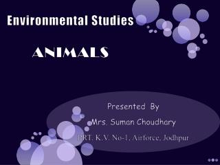 Environmental Studies ANIMALS