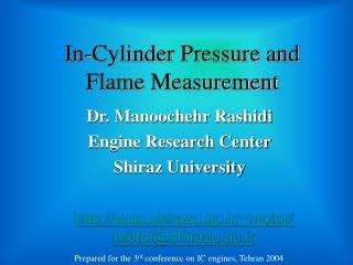 In-Cylinder Pressure and Flame Measurement