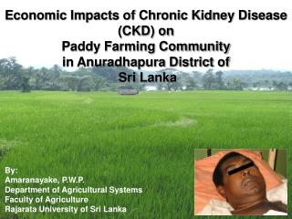 Economic Impacts of Chronic Kidney Disease (CKD) on  Paddy Farming Community  in Anuradhapura District of  Sri Lanka