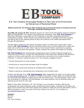 E.B. Tool Company Encourages Readers to Take Care of the Env