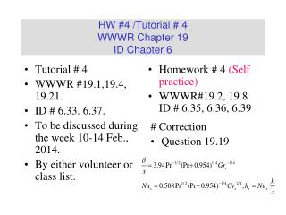HW #4 /Tutorial # 4 WWWR Chapter 19 ID Chapter 6