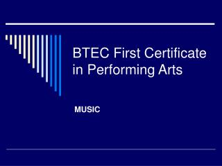 btec first certificate in performing arts