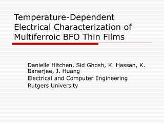 Temperature-Dependent Electrical Characterization of Multiferroic BFO Thin Films