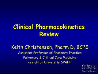 Clinical Pharmacokinetics Review